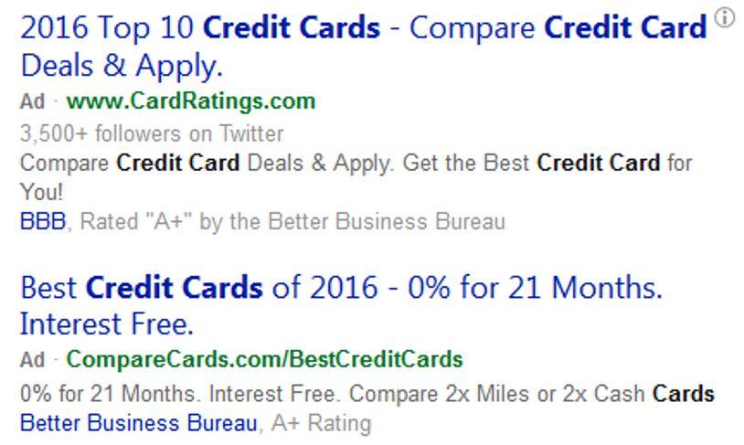 Bing Ads Textanzeigen mit schwarzem Fettdruck