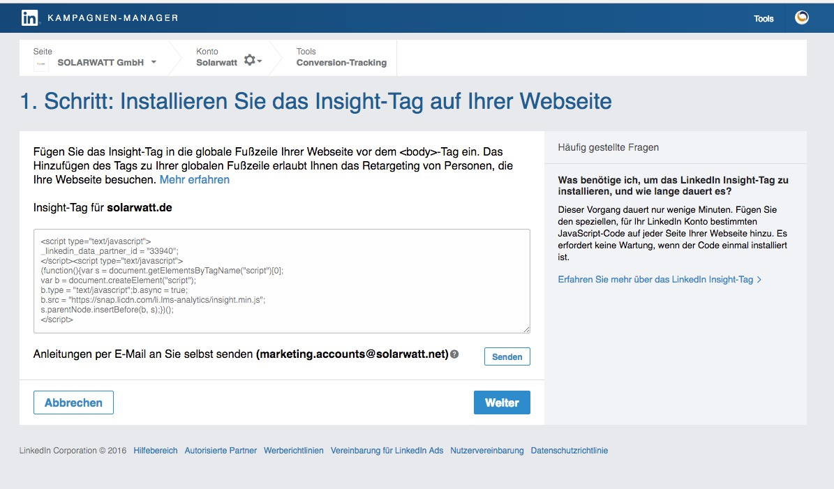 LinkedIn Kampagnen-Manager Insight-Tag