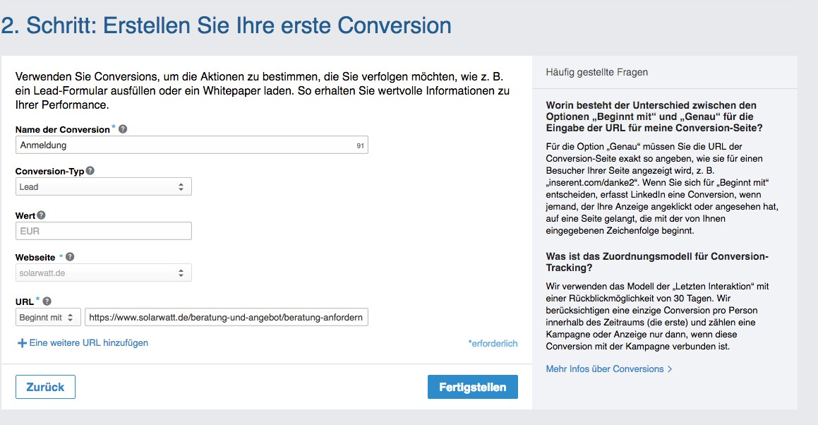 LinkedIn Kampagnen-Manager Conversion