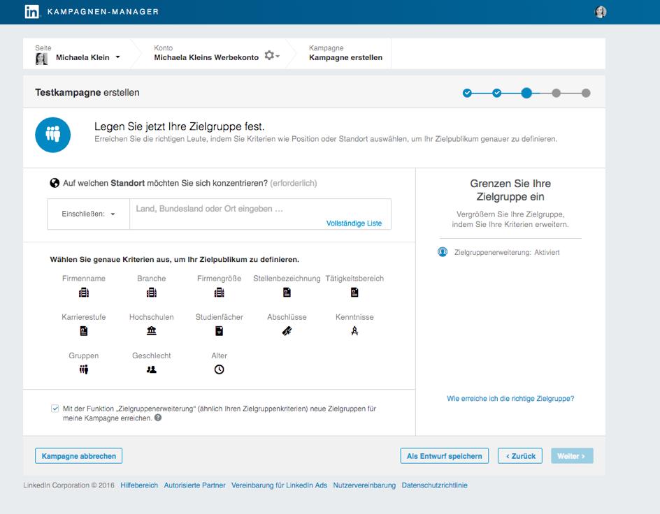 Targetingoptionen LinkedIn Ads