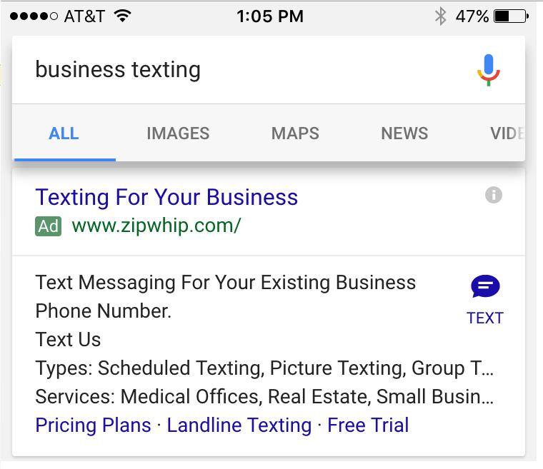 Click to SMS Anzeigenerweiterung