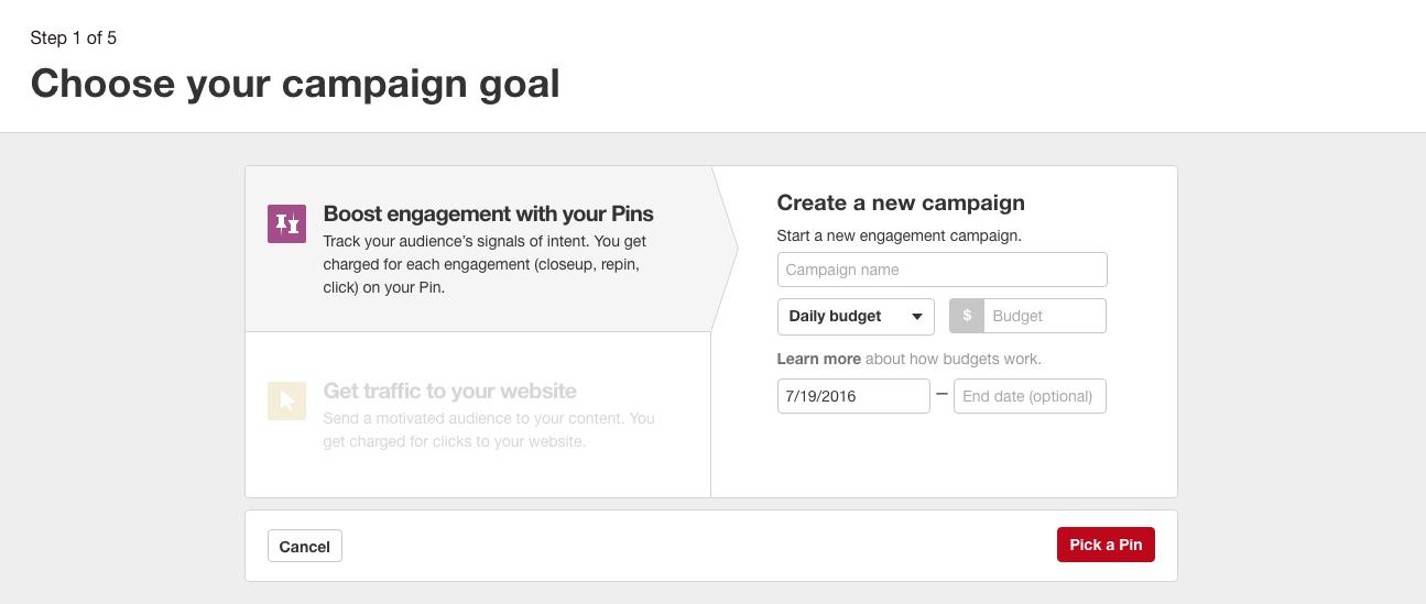 Kampagnenziele Pinterest