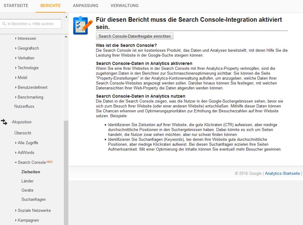 Mit dieser Meldung begrüßt einen Google, wenn man die Daten der Search Console abrufen möchte.