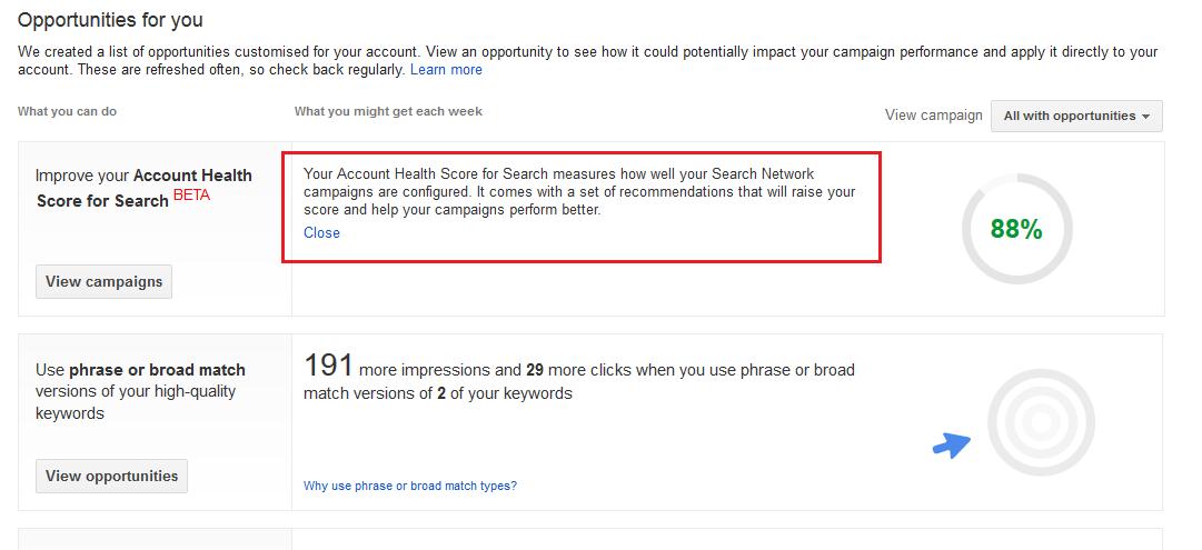 Account Health Score for Search in der Gesamtübersicht