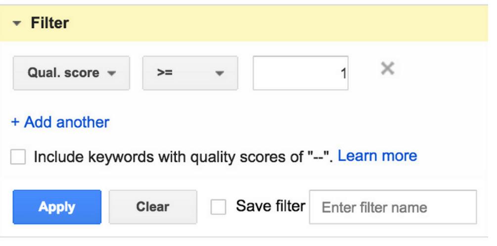 Keywords mit einem Qualitätsfaktor von 0 können mit Hilfe des Filters ausgewählt werden