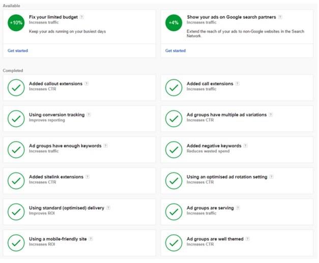 Optimierungsmaßnahmen für Account Health Score auf Kampagnenebene