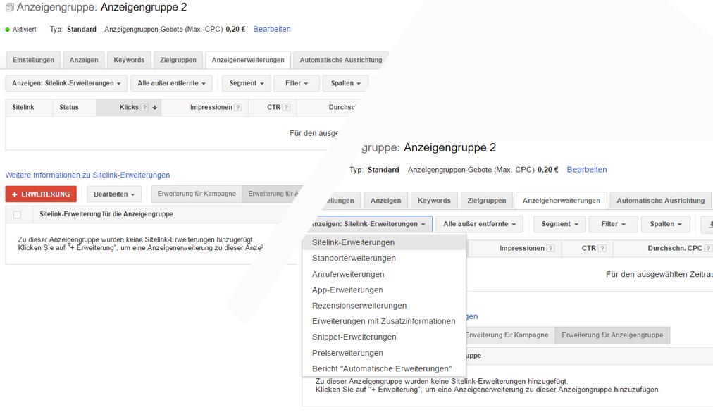 Beispiel, wie ein die Sitelink-Erweiterung bei Google AdWords eingerichtet wird