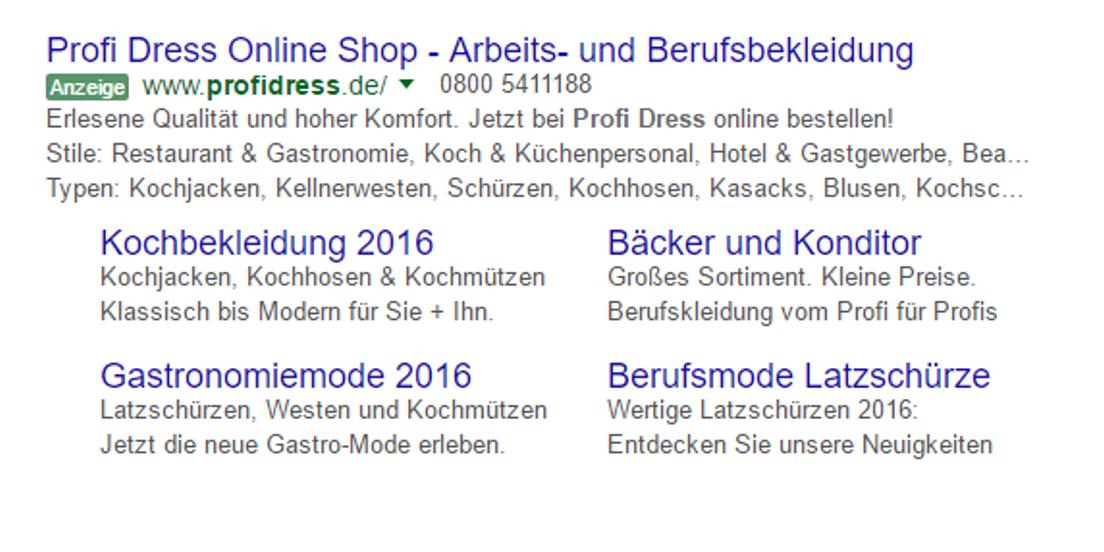 Anzeigenerweiterung bei Google AdWords
