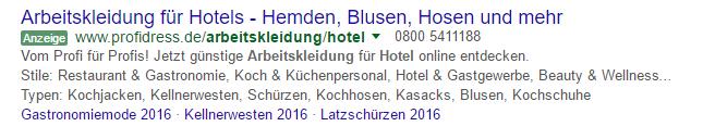 Beispiel Sitelinks Anzeigenerweiterung bei Google AdWords