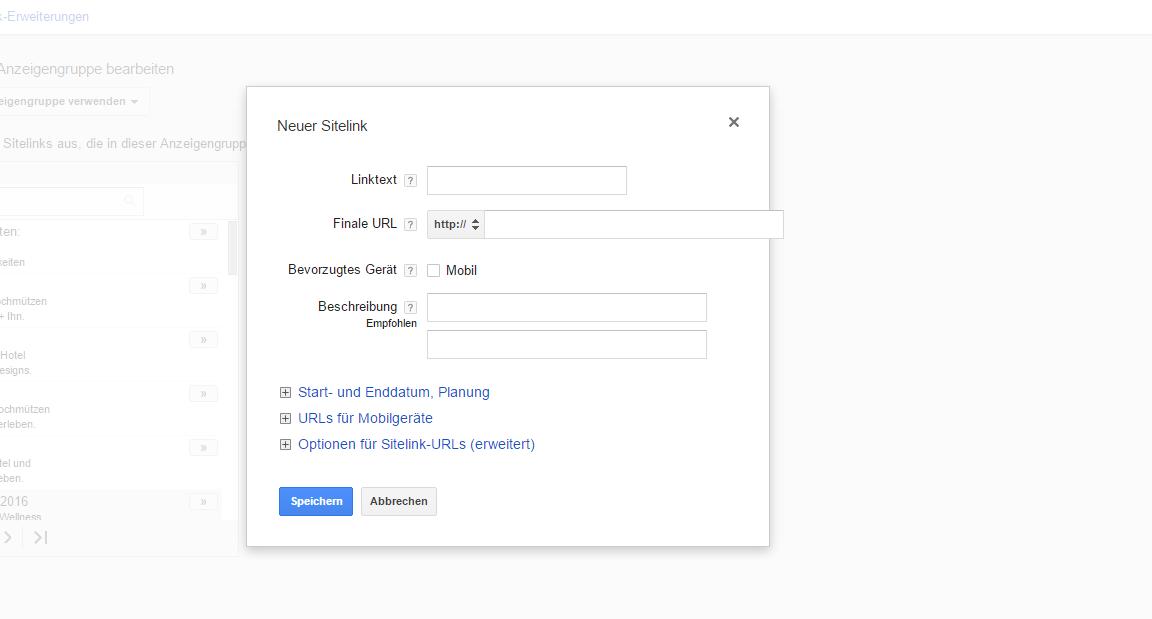 Beispiel, wie ein neuer Sitelink-Text bei Google AdWords angelegt wird
