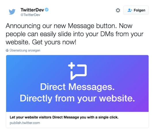 Einbindnung Twitter Message Button