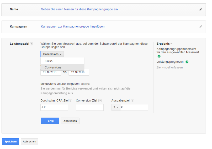 Kampagnengruppen als neues Monitoring Tool im AdWords Account verfügbar