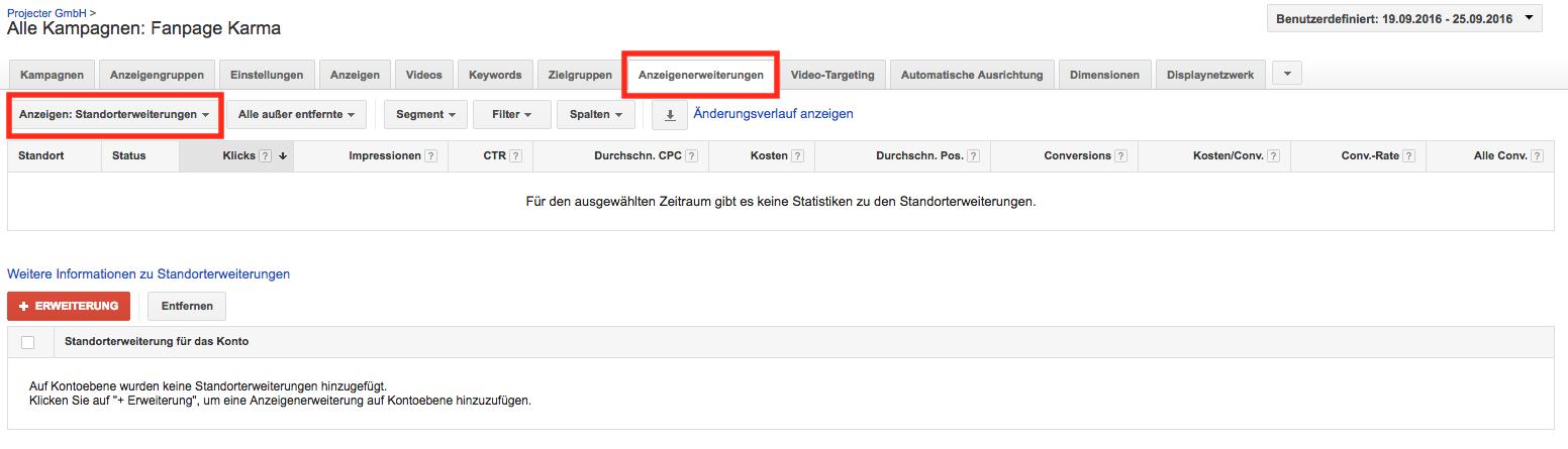 Anzeigenerweiterungen im Google Adwords Konto anlegen