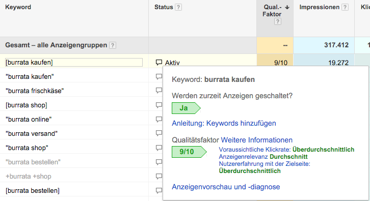 Darstellung Qualitätsfaktor Google AdWords