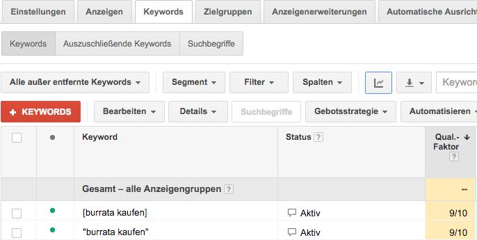 Darstellung des Qualitätsfaktors im Google Adwords Konto