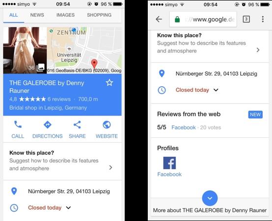 Biespielbild einer Standorterweiterung bei einer Google Adwords Anzeige in der mobilen Ansicht