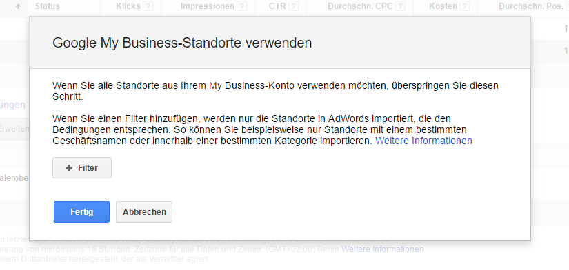Google My-Business Standort verwenden für die Standortereiterung in Google Adwords