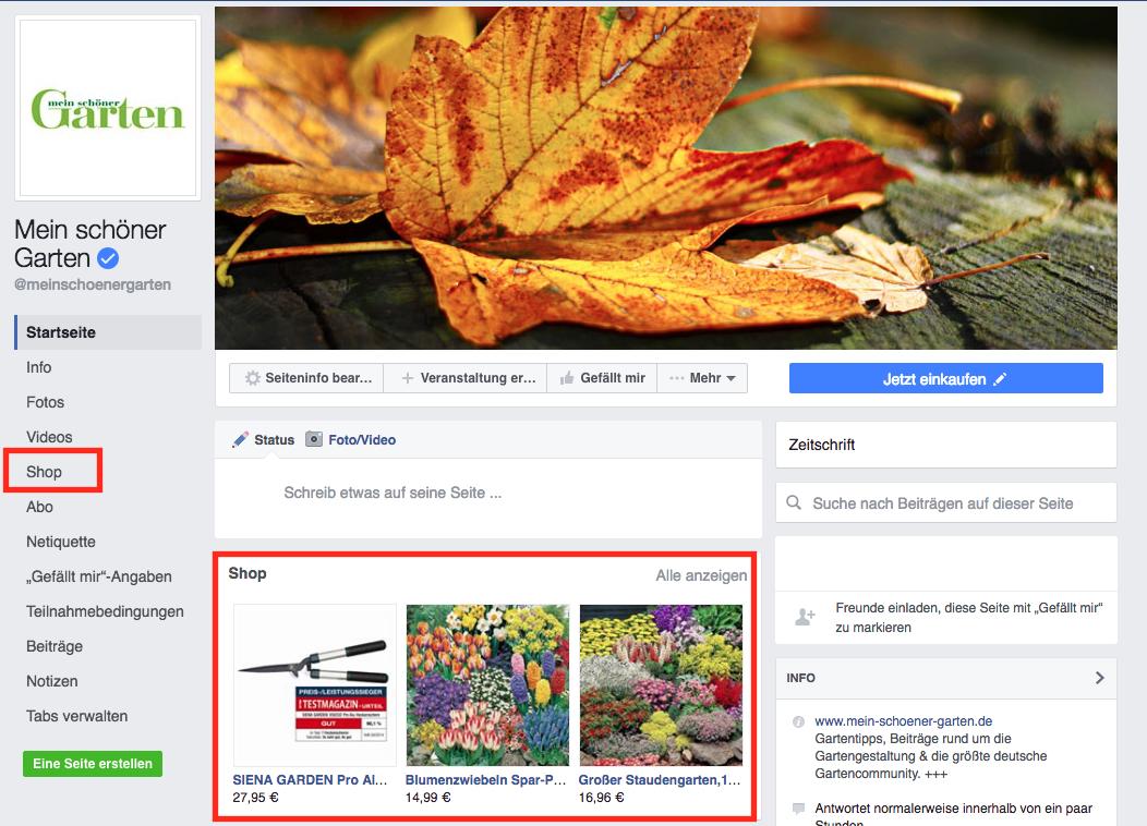 Mein schöner Garten Shopping Facebook
