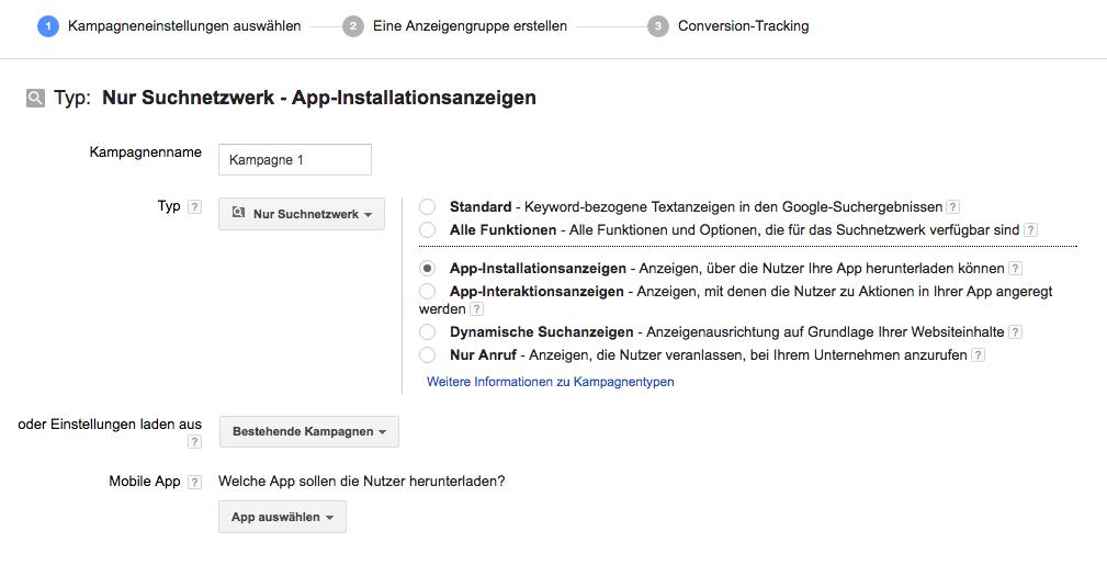 Kampagnen mit App-Installations-Anzeigen im Suchnetzwerk