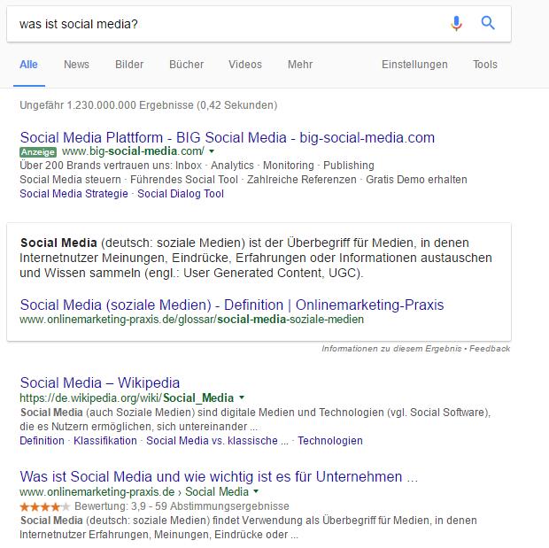 Featured Snippets in den Suchergebnissen