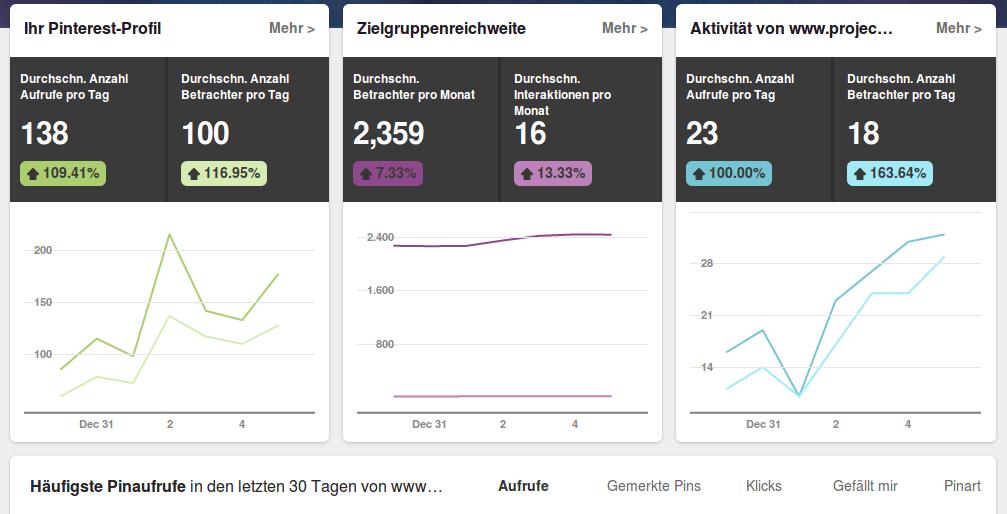 Die Analytics Seite von Pinterest