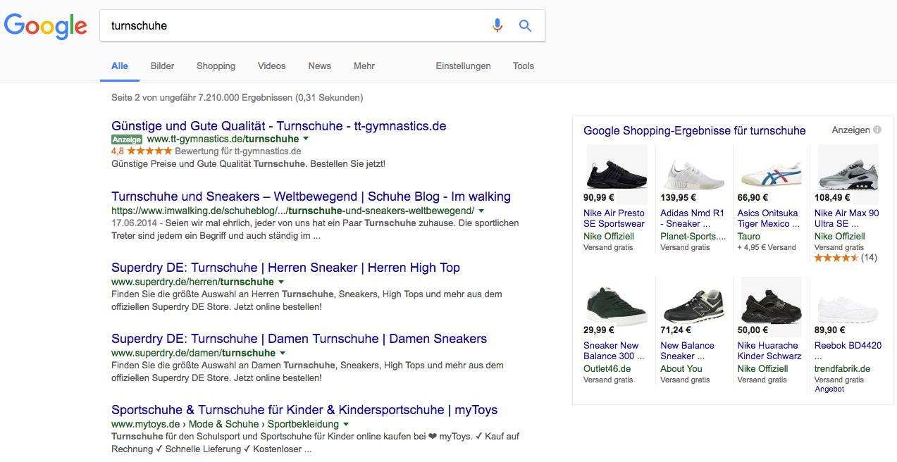 Google Ads in der Suchmaschine