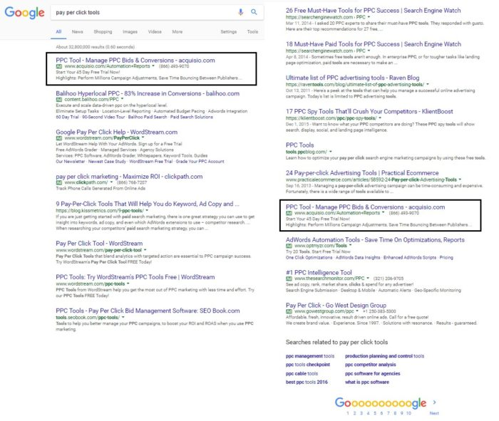 Duplizierte Anzeigen oberhalb sowie unterhalb er organischen Suchergebnisse