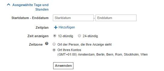 Anzeigenerweiterung mit Zeitplan bei Bing Ads