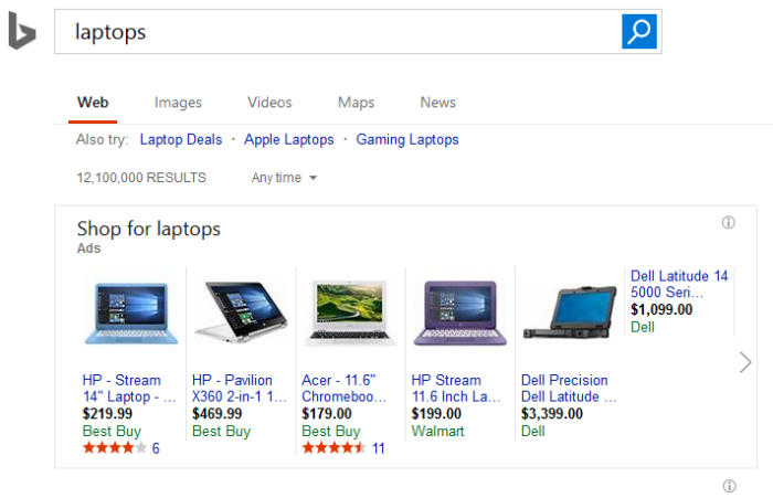 Bing Ads Karussell