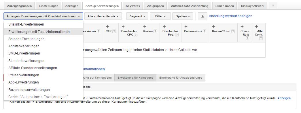 Einrichtung der Anzeigenerweiterungen mit Zusatzinformationen im Google AdWords Account