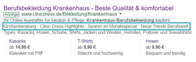 Beispiel einer Anzeigenerweiterungen mit Zusatzinformationen für Google AdWords