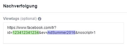 Beispiel eines View für das Frequency Capping bei Facebookanzeigen