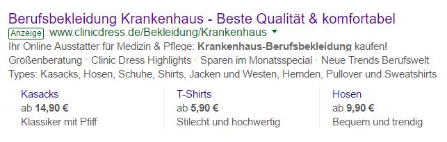 bisherige Preiserweiterungen bei Google AdWords
