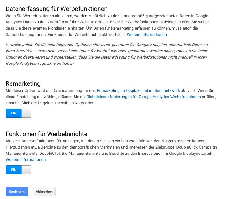Datenerfassung für Werbefunktion in Google Analytics aktivieren
