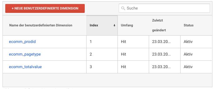Übersicht der benutzerdefinierte Dimension in Google Analytics