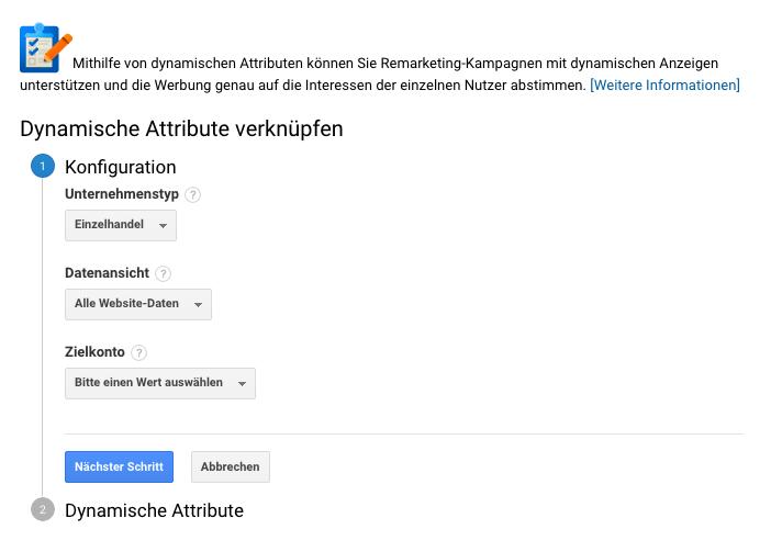 Dynamische Attribute in Google Analytics verknüpfen
