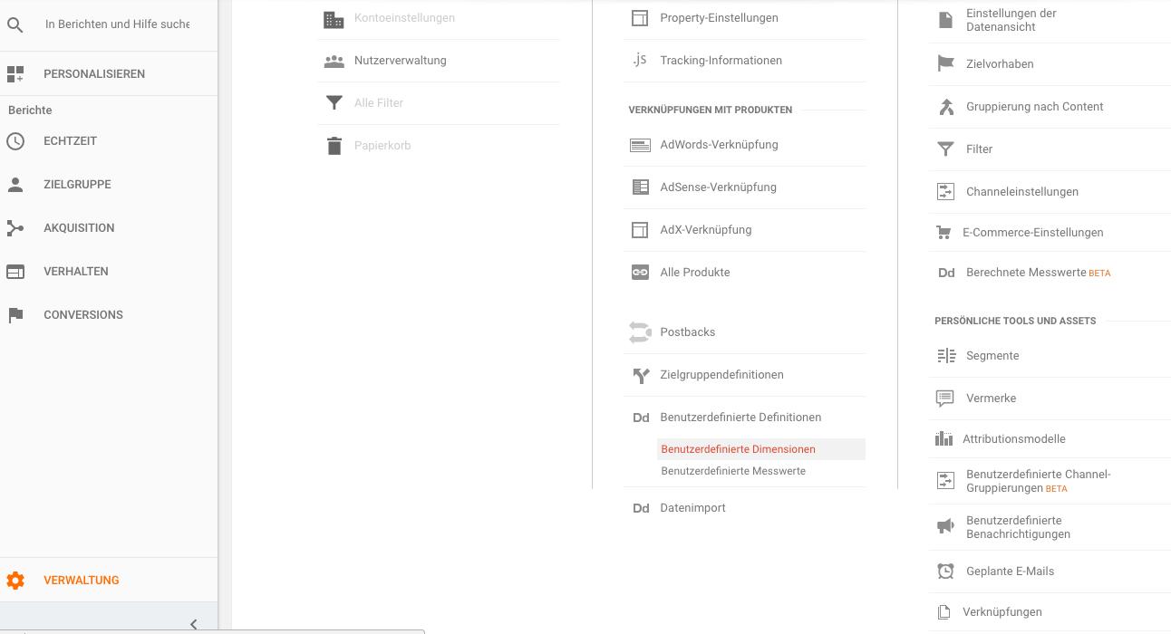 Benutzerdefinierte Dimension in Google Analytics erstellen