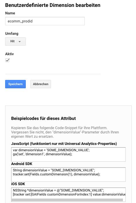 Benutzerdefinierte Dimension in Google Analytics bearbeiten