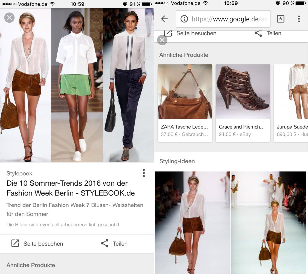 Google Bildersuche ähnliche Produkte