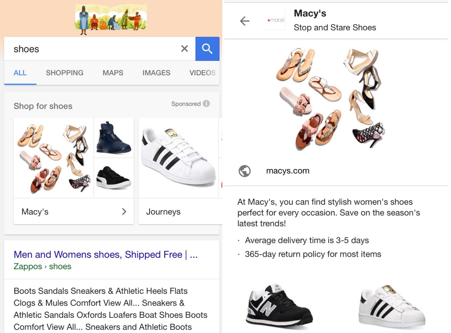 Aggregierte Google Shopping Anzeigen bei generischen Suchanfragen in der mobilen Suche