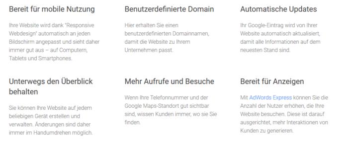 Google My Business Homepage Baukasten