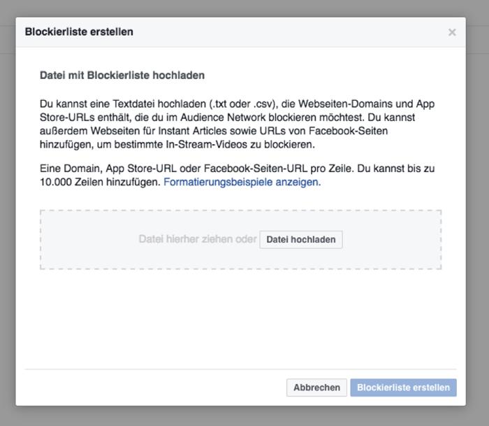 Facebook Blacklist erstellen