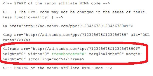 Zanox Trackingcode für ein Post View Werbemittel