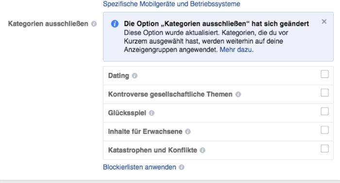 Facebook Kategorien ausschließen