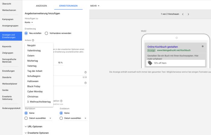 Angebotserweiterung im neuen AdWords Interface