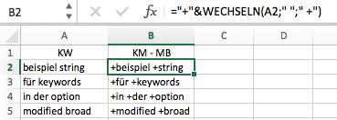 "Keywords mit ""modified broad"" - Option"