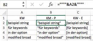"""Keywords mit """"phrase""""- oder """"exact""""- Option"""