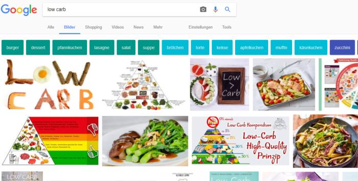 Low Carb, Google Suche