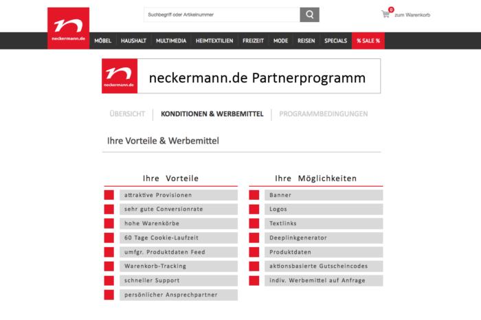 Partnerprogrammseite auf neckermann.de