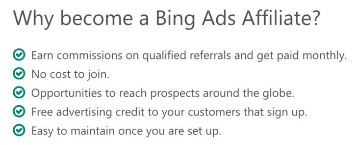 Vorteile des Bing Affiliate-Partnerprogramms